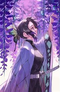 Wallpaper, Anime, Girls, Digital, Art, Artwork, Portrait, Display, Vertical, 2d, Kochou, Shinobu