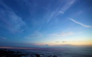 Clear, Sky, 4k, Wallpaper, Sunset, Dusk, Blue, Sky, Starry, Sky, Horizon, Beach, Seascape, Rocky