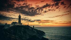 wallpaper, lighthouse, , hd, , 4k, wallpaper, , rocks, , sea, , sunset, , os, , 5287