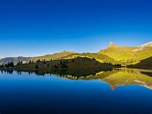 Lake, River, Reflection, Hill