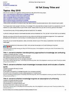 Essay Science And Religion Example Tok Essay  Professional Writer also High School Essay Samples Example Tok Essays Personal Statement Writing Company Example Tok  Argumentative Essay High School