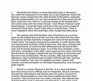 Remember The Titans Essay Science Research Proposal Example Remember  Remember The Titans Discussion Questions My First Day Of High School Essay also High School Personal Statement Essay Examples  Analysis Essay Thesis Example