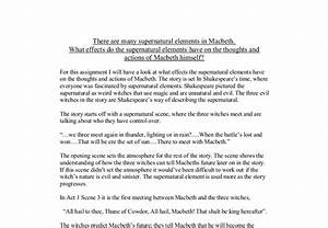 How To Write An Application Essay For High School Macbeth Supernatural Essay Planning High School Vs College Essay also Examples Of High School Essays Macbeth Supernatural Essay Erma Bombeck Essays Macbeth Supernatural  English Essays Book